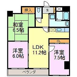 愛知県半田市青山5丁目の賃貸マンションの間取り