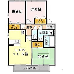 兵庫県豊岡市戸牧の賃貸アパートの間取り