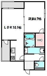 大阪府守口市南寺方中通3丁目の賃貸アパートの間取り