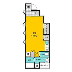 福岡市地下鉄空港線 博多駅 徒歩13分の賃貸アパート 1階ワンルームの間取り