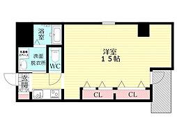 パレス東洋豊里2号館 3階ワンルームの間取り