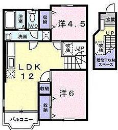 埼玉県川口市大字安行吉岡の賃貸アパートの間取り