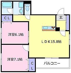 南海高野線 北野田駅 徒歩8分の賃貸アパート 3階2LDKの間取り