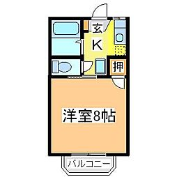 広島県東広島市西条下見の賃貸アパートの間取り