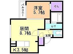 JR函館本線 手稲駅 徒歩8分の賃貸マンション 5階1LDKの間取り