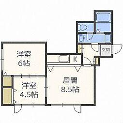 ベルヴィコートS4[4階]の間取り