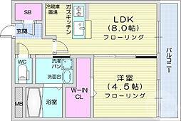 仙台市地下鉄東西線 川内駅 徒歩23分の賃貸マンション 2階1LDKの間取り