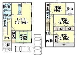 [一戸建] 大阪府貝塚市橋本 の賃貸【/】の間取り