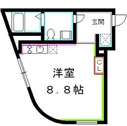 JR総武線 吉祥寺駅 徒歩10分の賃貸マンション 2階ワンルームの間取り