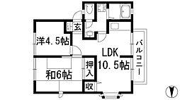 兵庫県川西市寺畑1丁目の賃貸アパートの間取り