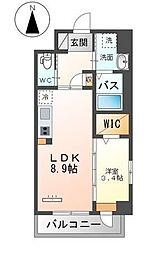Grandeur Hakata 2階1LDKの間取り