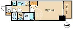 ララプレイス大阪新町ヴェレ 8階1Kの間取り
