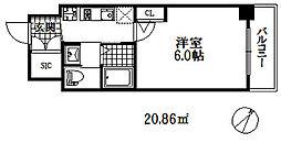 エステムコート神戸元町2リザーブ 4階1Kの間取り