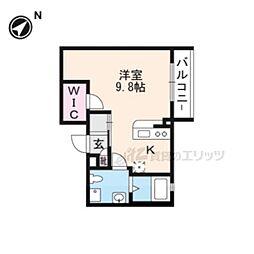 叡山電鉄叡山本線 元田中駅 徒歩3分の賃貸マンション 2階1Kの間取り