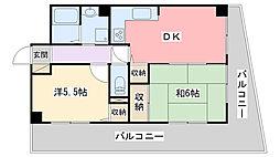 ライオンズマンション姫路[502号室]の間取り