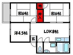 コ−ポハッピ−[1階]の間取り