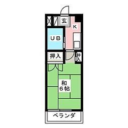 露橋ロイヤルハイツ[1階]の間取り