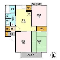埼玉県川越市小室の賃貸アパートの間取り