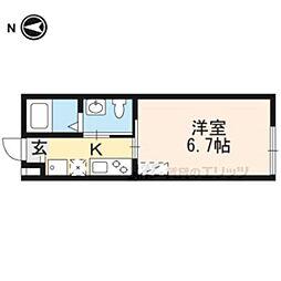近鉄京都線 京都駅 徒歩9分の賃貸マンション 4階1Kの間取り