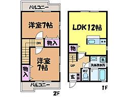 愛媛県松山市平井町の賃貸アパートの間取り