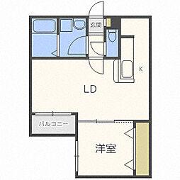 札幌市営南北線 麻生駅 徒歩6分の賃貸マンション 2階1LDKの間取り