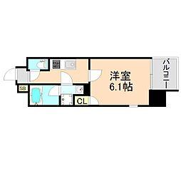 JR東西線 大阪天満宮駅 徒歩1分の賃貸マンション 11階1Kの間取り