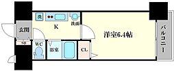 エステムコート梅田天神橋リバーフロント 3階1Kの間取り