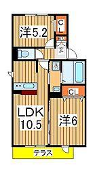 プロシード青葉台B[201号室]の間取り