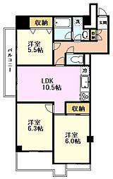 JR中央線 国分寺駅 徒歩14分の賃貸マンション 1階3LDKの間取り