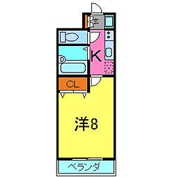 兵庫県加古川市加古川町美乃利の賃貸マンションの間取り