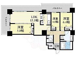カスタリアタワー長堀橋 25階3LDKの間取り