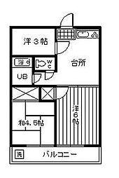 柚の木田ハイツ[208号室]の間取り
