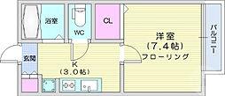仙台市地下鉄東西線 川内駅 徒歩10分の賃貸アパート 1階1Kの間取り