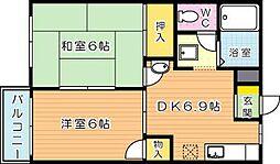 スカイハイツ木屋瀬[2階]の間取り