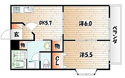 プレジデントタカヤ6 B棟[2階]の間取り