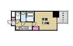 プレサンス心斎橋レヨン 3階1Kの間取り