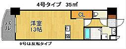 ロイヤルノースナイン[9階]の間取り