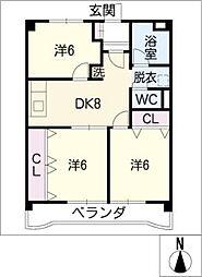 メゾン・大和[6階]の間取り