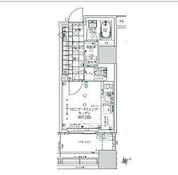 JR山手線 浜松町駅 徒歩11分の賃貸マンション 4階ワンルームの間取り