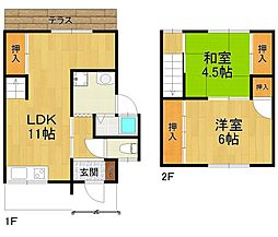 [テラスハウス] 兵庫県伊丹市御願塚2丁目 の賃貸【/】の間取り