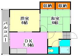 コーポエビハラI[2階]の間取り