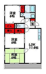 エスポアール岡本[1階]の間取り