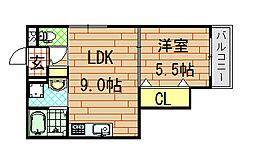 セレニティ松原[1階]の間取り