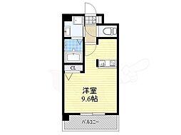 エンクレスト博多駅東2 2階ワンルームの間取り
