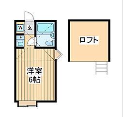京王線 東府中駅 徒歩12分の賃貸アパート 1階ワンルームの間取り