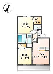 愛知県名古屋市東区大幸4丁目の賃貸アパートの間取り