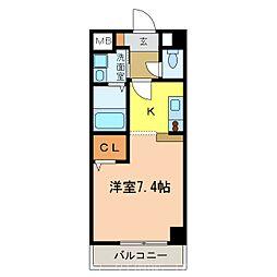 南海高野線 千代田駅 4分 アウローラ冨士 5階1Kの間取り