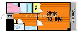JR山陽本線 新倉敷駅 徒歩4分の賃貸マンション 2階1Kの間取り