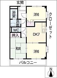クレールKATSUNO[1階]の間取り