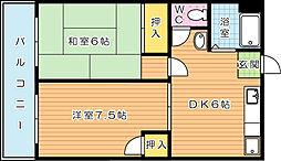 オアシス三萩野[403号室]の間取り